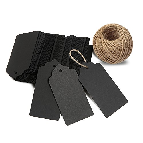 KINGLAKE 100 PCS Kraft Paper Blank Gift Tags with String Vintage Gift Tag Wedding Favor Hang Tags with 100 Feet Natural Jute Twine Retangle Tags for Crafts & Price Tags ()