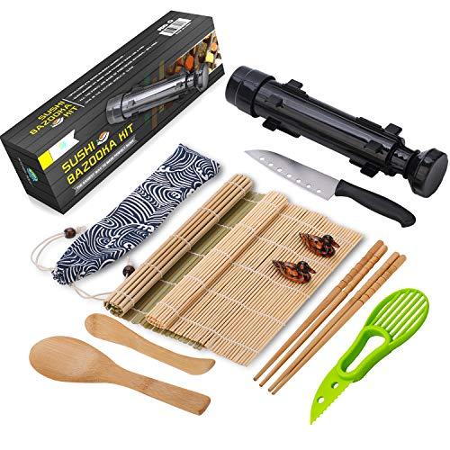 (Sushi Making Kit - All In One Sushi Bazooka Maker with Bamboo Mats, Bamboo Chopsticks, Avocado Slicer, Paddle,Spreader,Sushi Knife, Chopsticks Holder, Cotton Bag - DIY Sushi Roller Machine -)