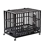 WALCUT 37' Heavy Duty Square Tube Large Dog Cage Crate Kennel Pet Playpen with Wheels and Tray