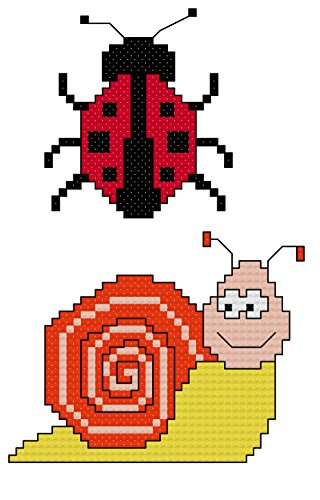 - Fun Ladybird and Snail cross stitch charts/ patterns - 2 charts included: Whole cross stitch and backstitch only