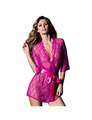 Exotic Lace Robe See Through Sexy Lingerie Bathrobe Sleepwear Set with Thong Belt