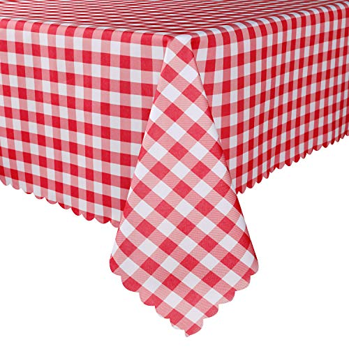 TUBEROSE Table Cloth Rectangle Oil-Proof Spill-Proof and Water Resistance Checkered Tablecloth, Red & White Checker, 60x84 inch-Perfect for Dinner, Party, Camping Picnic or Everyday Use]()