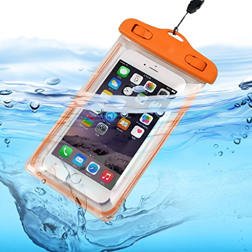 ONX3® (Orange) HTC Desire 820q Dual sim Universal Transparent Mobile Cell Smart Phone, Passport, Money Underwater Waterproof Protection Bag, Case, Cover