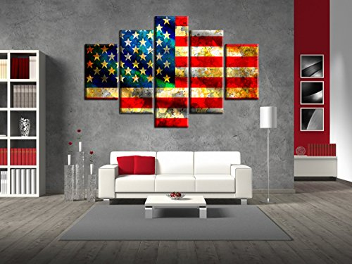 Overlay Framed (American Flag Large Painting on Canvas Red Yellow Blue Artwork 5 Panel Rusty Stars and Stripes Brick Patriotic Concept Wall Art Giclee for Living Room Home Decor Stretched Framed(60''W x 32''H))