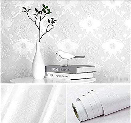Birwall 48 4 Square Feet Wd01 Faux White Damasks Texture Peel And Stick Wallpaper Decor Self Adhesive Prepasted Wallpaper Amazon Co Uk Diy Tools