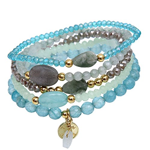 tom+alice Beaded Bracelets for Women Stackable Handcut Natural Stones 5 pcs Ermish Stretch Set Bangle