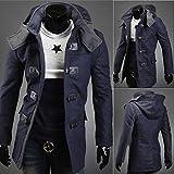 Men's Long Sleeve Overcoat Jacket Hooded Parka Winter Warm Trench Coat Outwear.