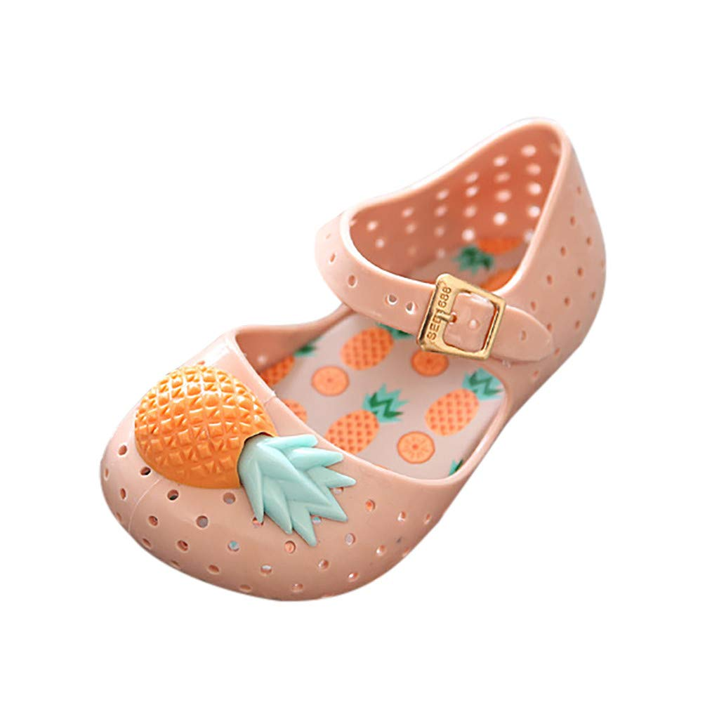 Summer Baby Girl Shoes, wodceeke Pineapple Decorative Soft Bottom Sandals Shoes Non-Slip Baby Shoes (24, Orange)