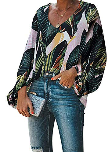Silindashop Balloon Sleeve Blouses for Women Ladies Casual Fashion Summer Autumn Leaf Printed Loose Shirts V-Neck Blouses and Tops (Balloon Hem Dress)