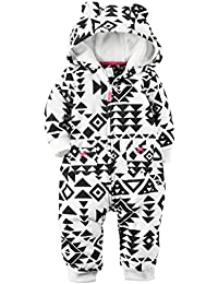 One Pack Bodysuits-Carter's Baby Hooded Fleece Jumpsuit, Purple