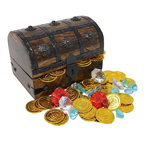 Pirate Treasure Chest Playset (Nautical Cove Wooden Pirates Treasure Chest Playset Filled with Gold Coins and Diamond Gems)