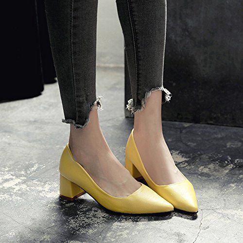 Chaussures Flats Femmes jaune Yellow EU36 pour 5 5 Taille Talon Le PU Low with Round Spring Toe White Casual UK3 Heel Blanc Couleur Autumn Comfort Black FUFU CN35 5cm for Chunky dAwqE0d