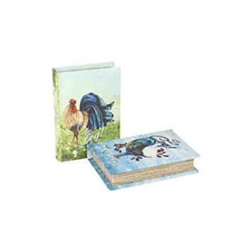 CAPRILO Set de 2 Cajas Libro Decorativas Gallos. Cajas Multiusos. Joyeros. Regalos Originales. 2.8 x 13.5 x 9.5 cm.: Amazon.es: Hogar
