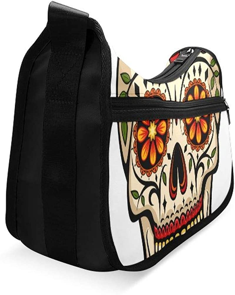 Human Skulls With Flowers For Holiday Messenger Bag Crossbody Bag Large Durable Shoulder School Or Business Bag Oxford Fabric For Mens Womens