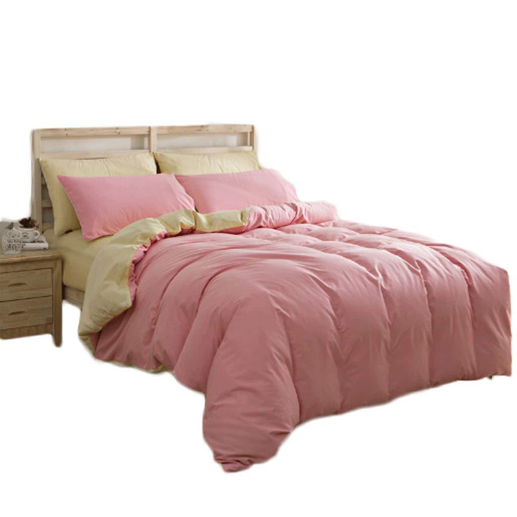 GJ Literie 4 Pièce Set Couleur Unie 220 × 240cm Taie d'oreiller Quilt Sheets Coton Et Polyester Four Seasons Universal ( Couleur   lumière rose Beige )