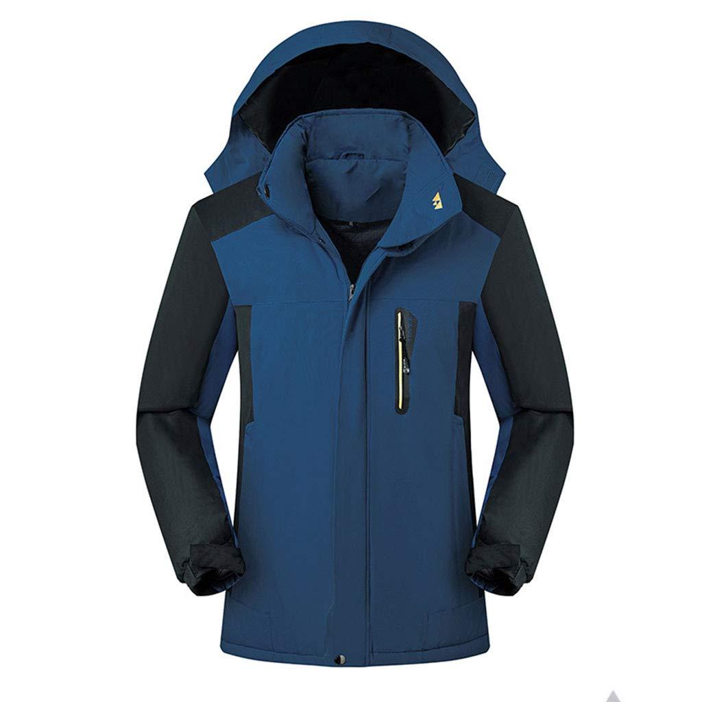 Regenjacken für Herren Winter Outdoor Mäntel warme atmungsaktive Ski Camping Wandern Regenmantel mit Reißverschlusstaschen und Kapuze , für Wandern, Reisen,Dark Blue-XXL