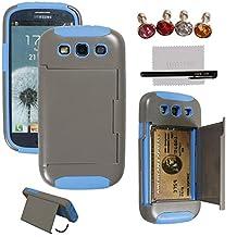 xhorizon® Hard/Soft Heavy Duty Hybrid Credit Card Wallet Case Cover For Samsung Galaxy S3 i9300 Grey