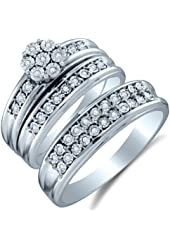 10K White Gold Diamond Mens and Ladies Couple His & Hers Trio 3 Three Ring Bridal Matching Engagement Wedding Ring Band Set - Flower Shape Center Setting w/ Round Diamonds - (1/8 cttw) - Please use drop down menu to select your desired ring sizes