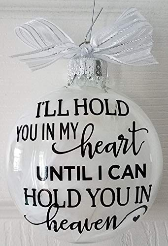 (Amy's Bubbling Boutique Heaven Memorial Ornament Filled with White Angel Wings - Miscarriage Memorial Baby Loss Heaven Ornament, in Loving Memory Memorial Gift)