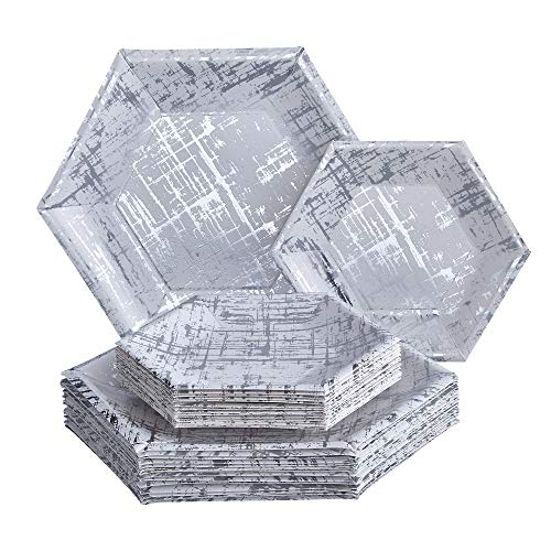 Design Wedding Collection - PARTY DISPOSABLE 36 PC DINNERWARE SET | 18 Dinner Plates | 18 Side Plates | Heavyweight Paper Plates | Hexagon Design | for Upscale Wedding and Dining (Arctic Collection - Silver)