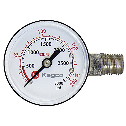 Left Hand Thread (Kegco BF13R04 High Pressure Replacement Gauge - Left Hand Thread)