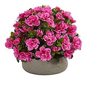 Nearly Natural 8176 Azalea Artificial Stone Planter Silk Plants Pink 70