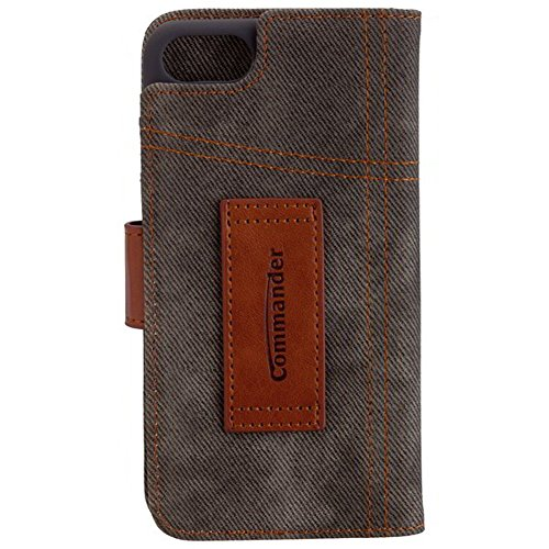 "COMMANDER Tasche BOOK CASE ""Used-Jeans-Design"" khaki für Apple iPhone 7 / 8 inkl Reinigungstuch iMoBi"