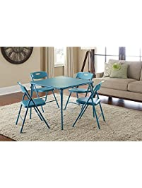 Cosco Vinyl Folding Table with Chairs Set  Game Table   Poker Table  Teal Folding Tables   Chairs   Amazon com. Folding Tables With Chairs. Home Design Ideas