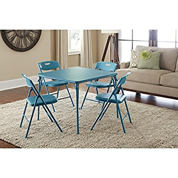 Cosco Vinyl Folding Table with Chairs Set Game Table  Poker Table (Teal)  sc 1 st  Amazon.com & Amazon.com: Cosco Vinyl Folding Table with Chairs Set Game Table ...