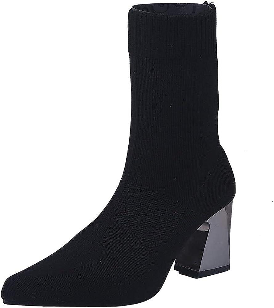 Sunmoot Sock Boots Square High Heel
