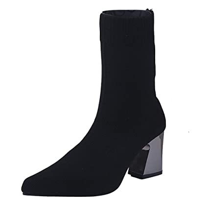 Clearance Sale for Shoes,AIMTOPPY Womens Shoes Pointed Elastic Cloth High Heel Tube Boots
