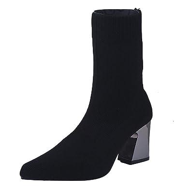 2b85db542a200d Bottes Chaussettes en Maille Noir Femme,Overdose Sexy Bottines à Talons  Carré Haut Chaussures Large