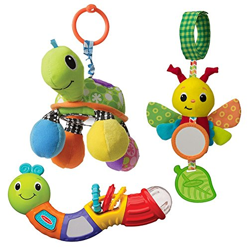 Infantino Topsy Turvy Toy Bundle Rattle & Mirror, Caterpillar Chime Pal