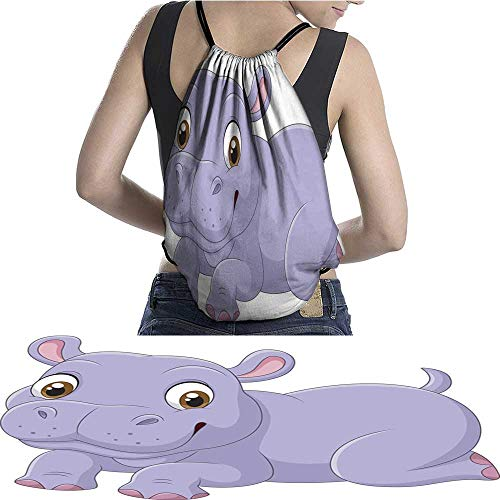 Lightweight Knapsack Cute baby hippo isolateon white background W11.8