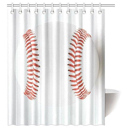 "InterestPrint White Baseball Sports Waterproof Polyester Fabric 60""(w) x 72""(h) Shower Curtain and Hooks"