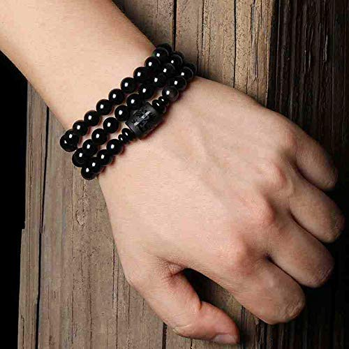 MGZDH Natural Crystal Obsidian Bracelet Multi-Circle 108 Beads Men and Women Dragon and Phoenix Lovers Hand String