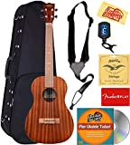 Kala KA-B Mahogany Baritone Ukulele Bundle with Hard Case, Clip-On Tuner, Austin Bazaar Instructional DVD, and Polishing Cloth