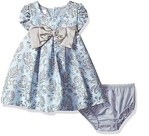 Bonnie Baby Baby Girls' Baby Girls Short Sleeved Brocade Float with Taffeta Bow, ()
