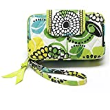 Pastoral Style Canvas Zip-Around Short Wallets Cute Certificates Coin Purse with Wrist Straps for Women Girls