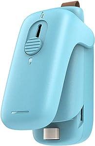Mini Bag Sealer, 2 in 1 Heat Sealer & Cutter Portable Bag Resealer Machine Food Saver for Plastic Bags Storage Snack Cookies Fresh, Handheld Bag Heat Vacuum Sealer, (Light blue)