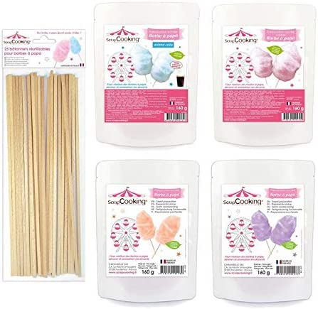 4 preparaciones para algodón de azúcar púrpura-naranja-azul-rosa + 25 palos de madera: Amazon.es: Hogar