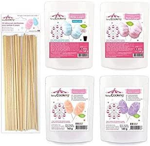 4 preparaciones para algodón de azúcar púrpura-naranja-azul-rosa + ...
