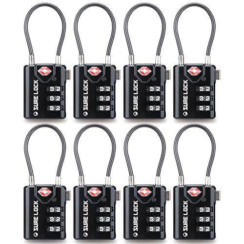 TSA Compatible Travel Luggage Locks, Inspection Indicator, Easy Read Dials - 1, 2 & 4 Pack (Large, BLACK 8 PACK)