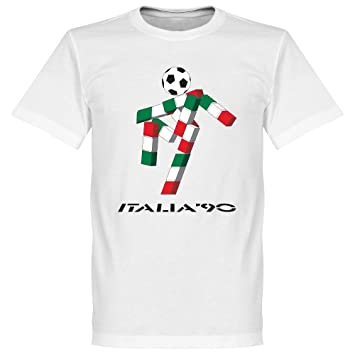 373a7b86 Retake Italia 90 Mascot T-shirt - White: Amazon.co.uk: Sports & Outdoors