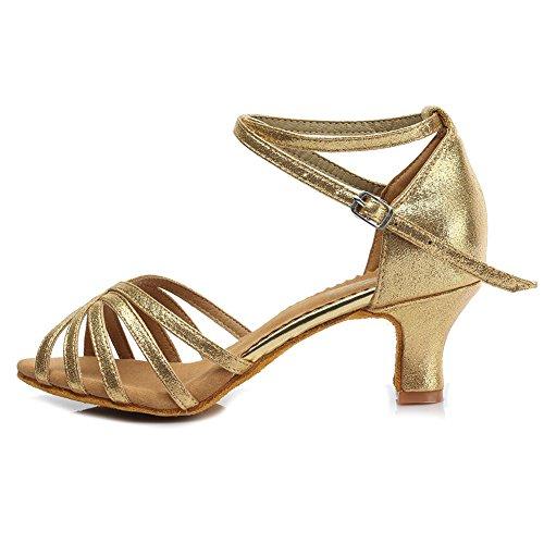 Chaussures De Danse Latine Cuir Roymall Femmes Chaussures De Danse Tango Salsa Performance, Modèle Mf1810-6 5cm Or