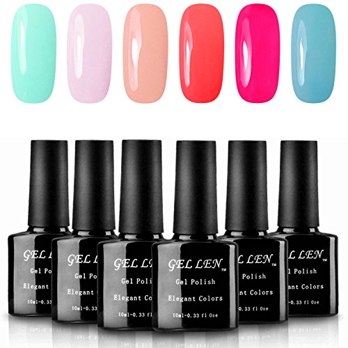 Gellen Environmental UV LED Gel Nail Polish Set Sweet Candy 6 Colors Nail Gel Kit