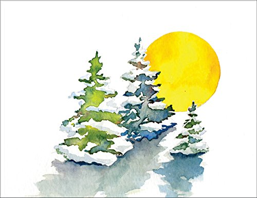 Winter Snow Trees Note Cards - Boxed Set of 20 Premium Blank Note Cards and Matching Envelopes