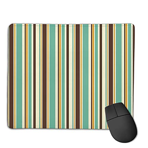Mouse Pad pad Customized Rectangle Non-Slip Rubber Mousepad,Striped Decor,Funk Art Nostalgic Lash Strokes with Earthen Tones Blow Fashion Graphic,Brown Teal,Consoles More Enjoy Precise & Smooth Oper