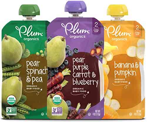Plum Organics Stage 2, Organic Baby Food, Fruit and Veggie Variety Pack, 4 ounce pouch, Pack of 18 (Packaging May Vary)