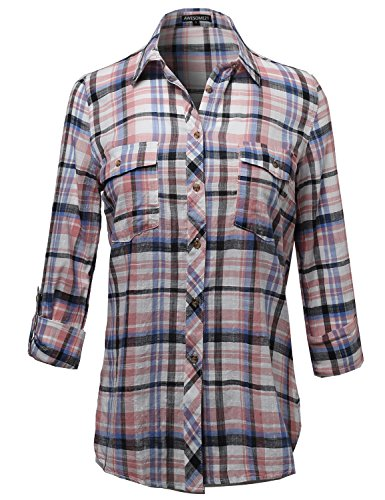(Cotton Plaid Long Roll Up Sleeves Chest Pocket Button Closure Shirt Blush S)